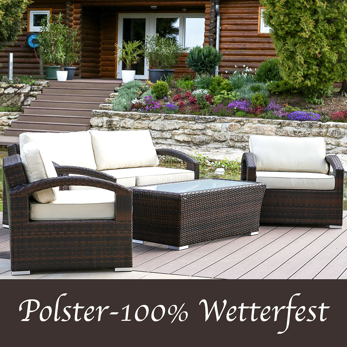 Terrassenmöbel lounge wetterfest  Polyrattan Gartenmöbel Lounge - Lounge Möbel, Lounge Set ...