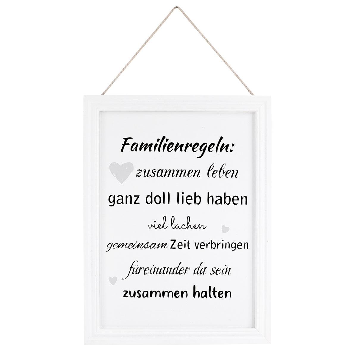 Schild mit Spruch, Familie, Familienregeln, Bilderrahmen, Fotorahmen ...
