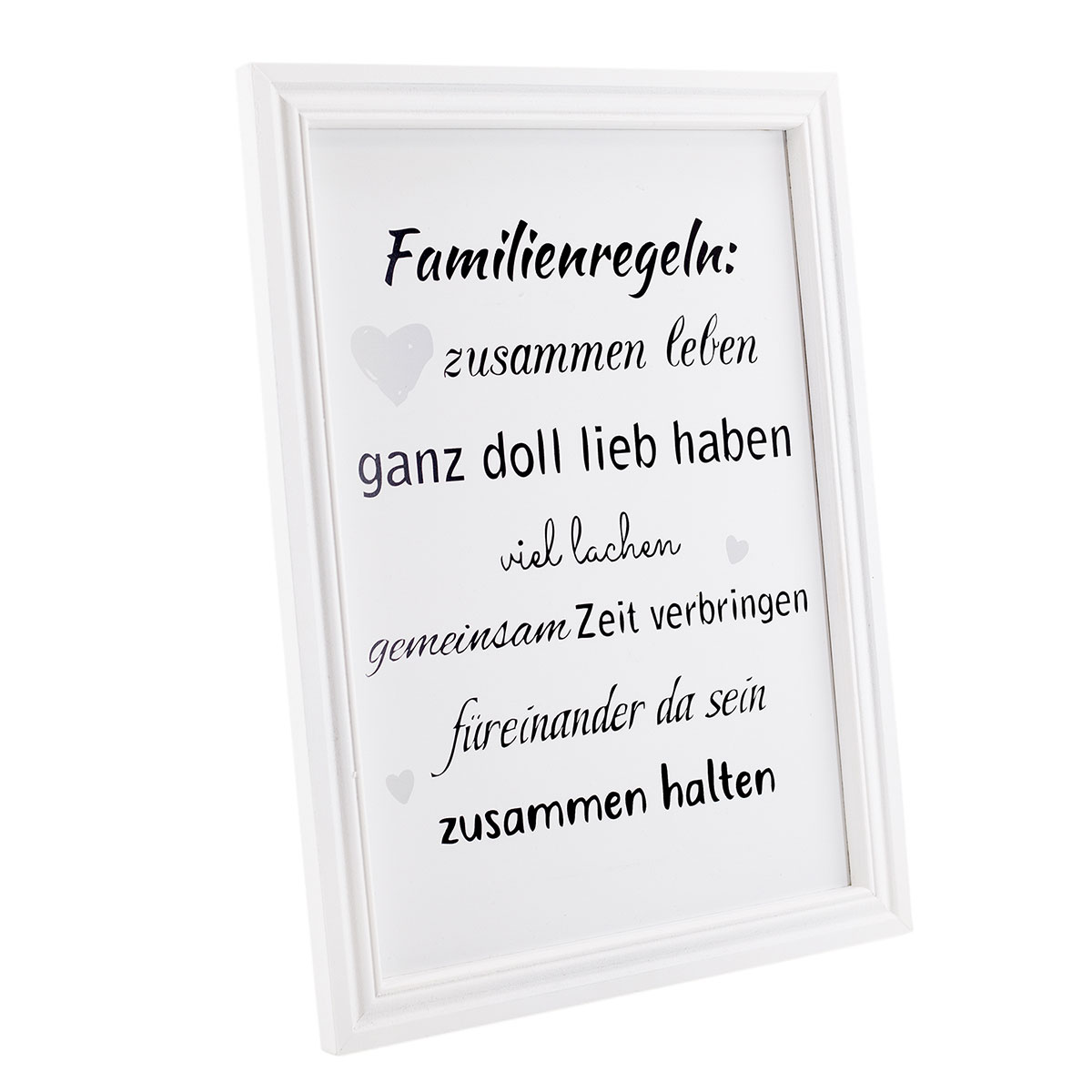 schild mit spruch familie familienregeln bilderrahmen. Black Bedroom Furniture Sets. Home Design Ideas