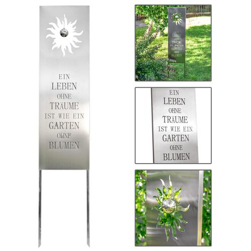 Steckschild Edelstahl, Gartendekoration mit Spruch, Gartenschild ...