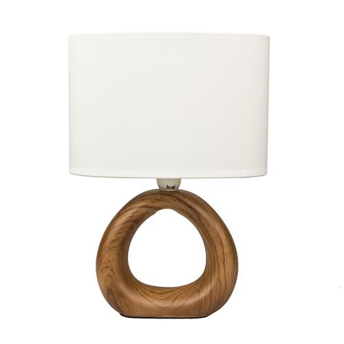 Tischlampe Keramik Lampe Mit Schirm Holzoptik Höhe Gesamt Ca