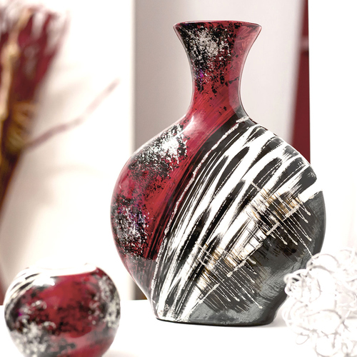 Vase Rot Schwarz Blumenvase Bauchig Keramikvase Hohe Ca 28cm