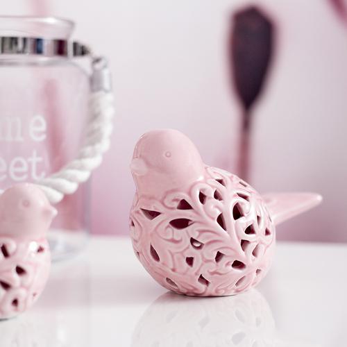 Vogel Keramik Vogel Dekoration Rosa Pastellfarben Keramikfigur