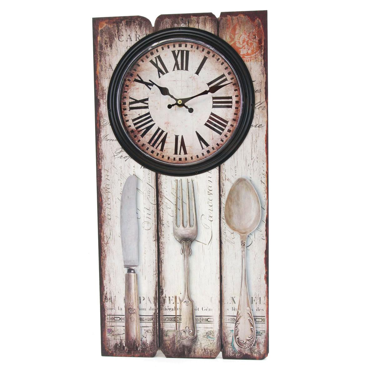 Wanduhr, Besteck, Holz, Küchenuhr, Uhr, römische Ziffern, Höhe ca ...