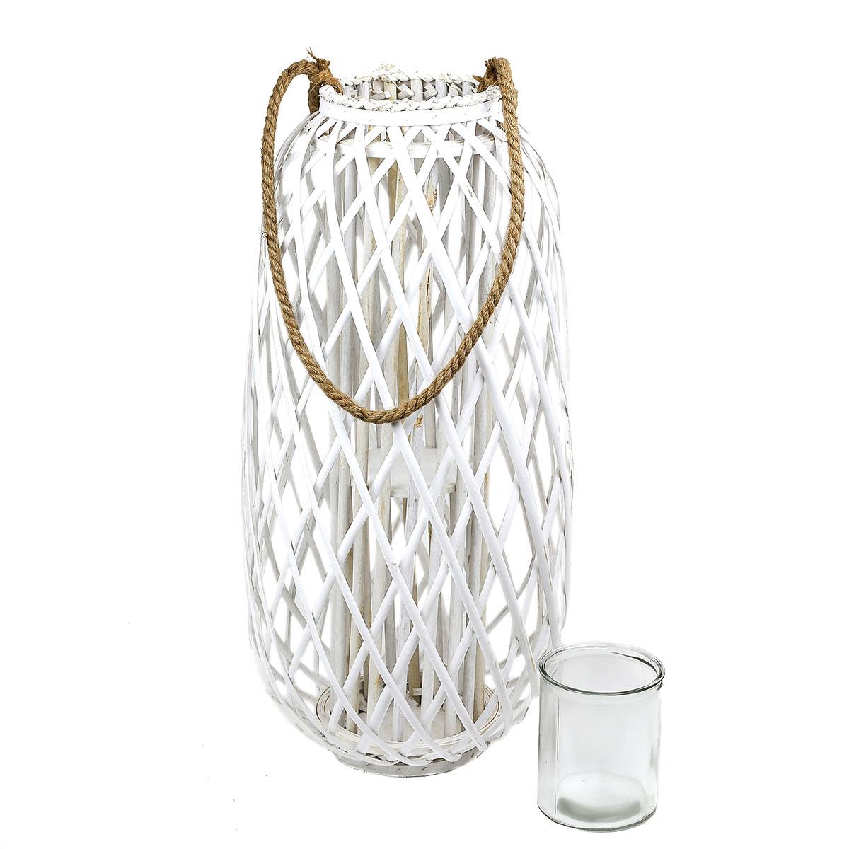Xxl Laterne Rattan Mit Glas Windlicht Weiss Hohe Ca 70cm