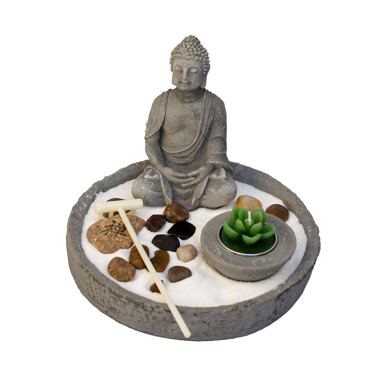 art decor zen-garten, japanischer steingarten mit buddha und kerze, Gartengestaltung