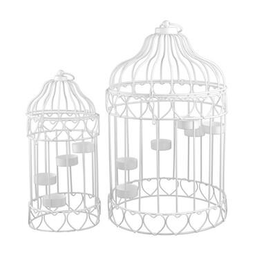 Produktabbildung Art Decor 2er Set Teelichthalter Vogelkfig Kerzenhalter Hngelaterne Metall Weiss